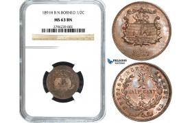 Y21, British North Borneo, 1/2 Cent 1891-H, Heaton, NGC MS63BN