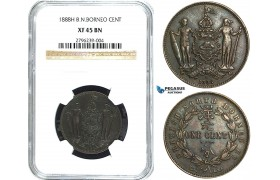 Y23, British North Borneo, 1 Cent 1888-H, Heaton, NGC XF45BN
