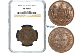 Y24, British North Borneo, 1 Cent 1889-H, Heaton, NGC AU58BN