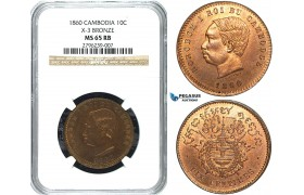 Y25, Cambodia, Norodom I, 10 Centimes 1860, NGC MS65RB (Not restrike!)