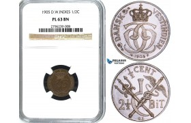 Y27, Danish West Indies, Christian IX, 1/2C. (2-1/2 Bit) 1905, Copenhagen, NGC PL63BN (Pop 1/1, Finest and only graded as PL) Rare Grade!