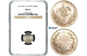 Y28, Ottoman Empire, Egypt, Abdül Hamid II, Qirsh, AH1293/10 W, Berlin, Silver, NGC MS65 (Pop 1/1, Finest)