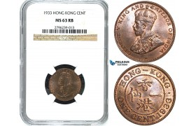 Y33, Hong Kong, George V, 1 Cent 1933, NGC MS63RB