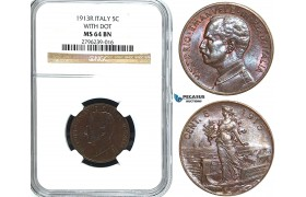 Y35, Italy, Vit. Emanuele III, 5 Centesimi 1913-R, Rome, NGC MS64BN (with Dot)