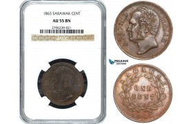 Y39, Sarawak, J. Brooke Rajah, 1 Cent 1863, NGC AU55BN