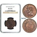 Y41, Sarawak, C. Brooke Rajah, 1 Cent 1879, Heaton, NGC MS62BN