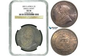 Y42, South Africa (ZAR) 5 Shillings 1892 (Single Shaft) Pretoria, Silver, NGC AU58