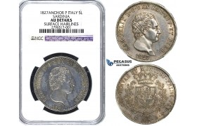 Y53, Italy, Sardinia, Carlo Felice, 5 Lire 1827-P, Genova, Silver, NGC AU (Light cleaning on Obv.)