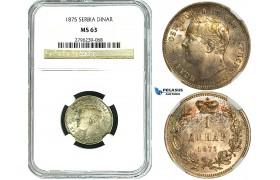 Y58, Serbia, Milan I. Obrenovic, 1 Dinar 1875, Silver, NGC MS63