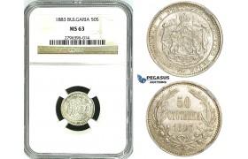 Y66, Bulgaria, Alexander I, 50 Stotinki 1883, St. Petersburg, Silver, NGC MS63