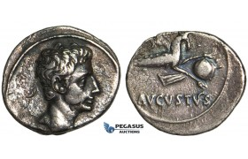 Y71, Roman Empire, Augustus (27 BC - 14 AD) AR Denarius (3.65g) Uncertain Spanish mint, 17-16 BC, Capricorn
