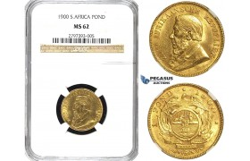 Y87, South Africa (ZAR) Pond 1900, Gold, NGC MS62