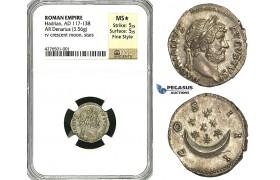 Y88, Roman Empire, Hadrian (117-138 AD) AR Denarius (3.56g) Rome (125-128 AD) Crescent/Stars, NGC MS* Fine Style