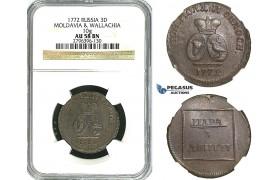 Y89, Russia, Moldavia & Wallachia, Para/3 Dengi 1772, Copper (from Turkish canons) Bitkin 1255, NGC AU58BN, Rare grade!