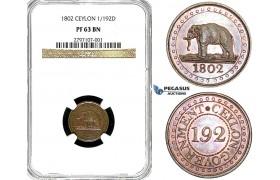 Y95, Ceylon (Sri Lanka) 1/192 Rixdollar 1802, NGC PF63BN