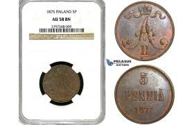 Y96, Finland (under Russia) Alexander II, 5 Penniä 1875, NGC AU58BN