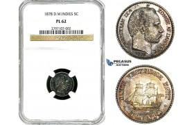 Y97, Danish West Indies, Christian IX, 5 Cents 1878, Copenhagen, Silver, NGC PL62
