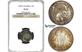 Y98, Danish West Indies, Christian IX, 10 Cents 1878, Copenhagen, Silver, NGC PL63