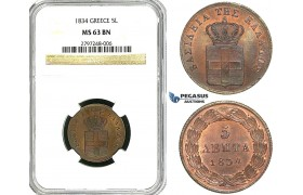 Z01, Greece, Othon, 5 Lepta 1834, Munich, NGC MS63BN, Rare!