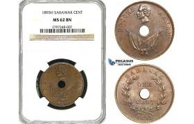 Z03, Sarawak, C. Brooke Rajah, 1 Cent 1893-H, Heaton, NGC MS62BN