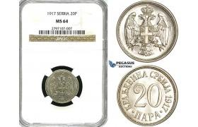 Z06, Serbia, Petar I, 20 Para 1917, NGC MS64