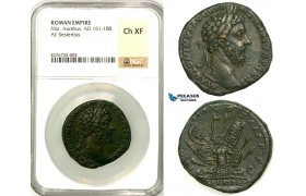 Z13, Roman Empire, Marcus Aurelius (161-180 AD) Æ Sestertius (21.22g) Rome, 176/177 AD, Sarmatian Arms, NGC Ch XF