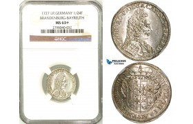 Z30, Germany, Brandenburg-Bayreuth, Georg Friedrich Karl, 1/24 Taler (Groschen) 1727 LR, Bayreuth, Silver, NGC MS63+ Rare!