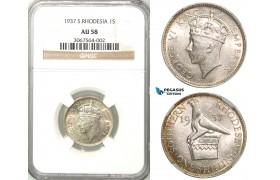 Z53, Southern Rhodesia (Zimbabwe) George VI, 1 Shilling 1937, Silver, NGC AU58