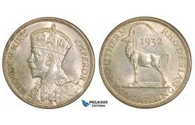 Z54, Southern Rhodesia (Zimbabwe) George V, 2 Shillings 1932, Silver, AU-UNC