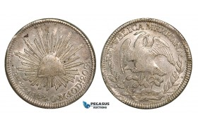 Z81, Mexico, First Republic, 8 Reales 1844 Zs OM, Zacatecas, Silver, aXF