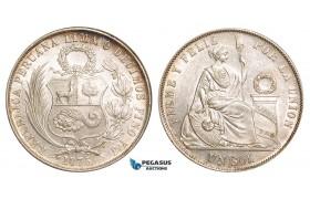 Z82, Peru, 1 Sol 1875 YJ, Lima, Silver, White AU-UNC