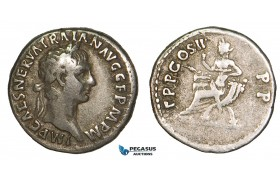 Z86, Roman Empire, Trajan (98-117 AD) AR Denarius (3.15g) Rome (98 AD) Concordia, F-VF