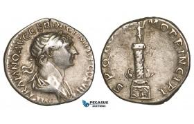 Z87, Roman Empire, Trajan (98-117 AD) AR Denarius (3.12g) Rome (114-115 AD) Column, VF