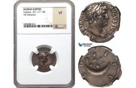 Z97, Roman Empire, Hadrian (117-138 AD) AR Denarius (3.11g) Rome (125-128 AD) Crescent/Stars, NGC VF