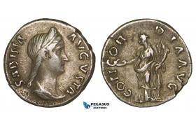 Z99, Roman Empire, Sabina. Augusta (128-136 AD) AR Denarius (3.31g) Rome (134-136) Concordia, Good VF