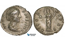 ZA02, Roman Empire, Diva Faustina Senior. (Died 140/1 AD) AR Denarius (3.14g) Rome (after 141 AD) Providentia, aEF