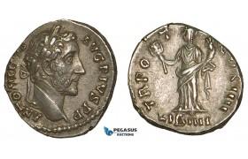 ZA07, Roman Empire, Antoninus Pius (138-161 AD) AR Denarius (3.39g) Rome (147 AD) Liberalitas, EF