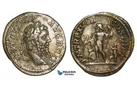 ZA08, Roman Empire, Septimius Severus (193-211 AD) AR Denarius (3.22g) Rome (210 AD) Jupiter, VF