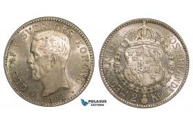 ZA27, Sweden, Gustav V, 2 Kronor 1922-W, Stockholm, Silver, Full Luster, XF