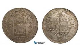 ZA30, Brazil, Joao VI, 960 Reis 1816-B, Bahia, Silver ((Overstruck on 8 Reales) Luster, XF