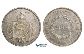 ZA31, Brazil, Pedro II, 2000 Reis 1865, Silver, Luster, Light Cleaning, AU