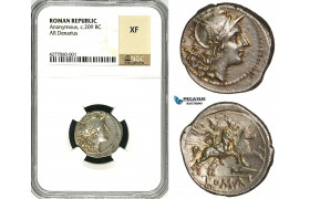 ZA34, Roman Republic, Anonymous (211-208 BC) AR Denarius (4.33g) Rome, Dioscuri, NGC XF