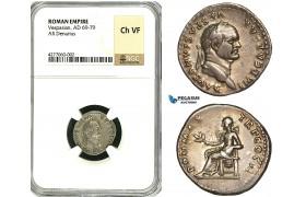 ZA35, Roman Empire, Vespasian (69-79 AD) AR Denarius (2.91g) Rome, 75 AD, Pax, NGC Ch VF