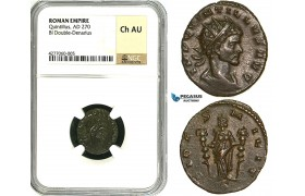 ZA37, Roman Empire, Quintillus (270 AD) BL Antoninianus (Double Denarius) (3.11g) Mediolanum (Milan) Fides, NGC Ch AU, Rare!