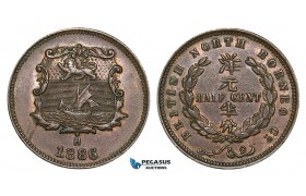 ZA38, British North Borneo, 1/2 Cent 1886-H, Heaton, Nice!