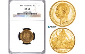 ZA45, Danish West Indies, Christian IX, 4 Daler/20 Francs 1904, Copenhagen, Gold, NGC MS64 (PL Fields)