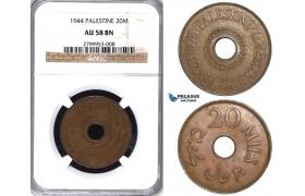 ZA52, Palestine, 20 Mils 1944, NGC AU58BN