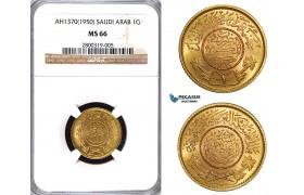 ZA55, Saudi Arabia, Guinea AH1370 (1950) Gold, NGC MS66