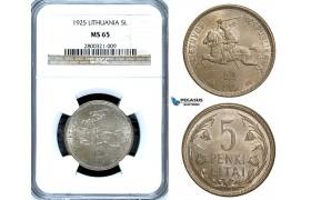 ZA62, Lithuania, 5 Litai 1925, Silver, NGC MS65