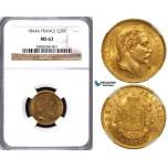 ZA68, France, Napoleon III, 20 Francs 1864-A, Paris, Gold, NGC MS63